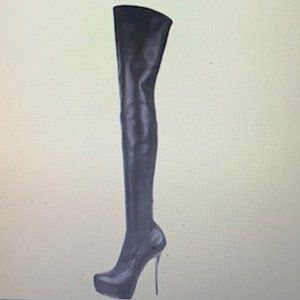 Leather Platform Knee-High Boots Size: 7.5 | IT 37
